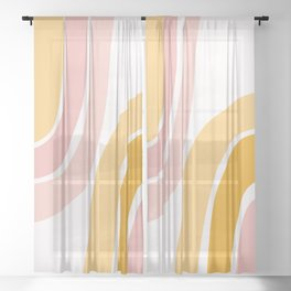 Abstract Shapes 37 in Mustard Yellow and Pale Pink Sheer Curtain