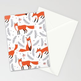 Red foxes and berries in the winter forest Stationery Cards