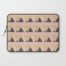 Modern Minimalist Triangle Pattern in Gold, Blush, and Charcoal Laptop Sleeve