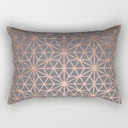 Modern rose gold stars geometric pattern Christmas grey graphite concrete industrial cement Rectangular Pillow