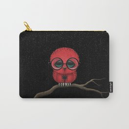Baby Owl with Glasses and Albanian Flag Carry-All Pouch