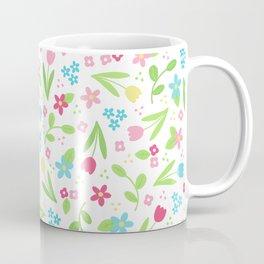 Spring Flowers Pattern on white background Coffee Mug