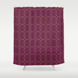 Fly Home Collection-  Circle Pattern Deep Red Violet  Shower Curtain
