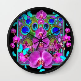 Decorative purple, Blue, Pink Orchids Butterflies Peacock Eyes Wall Clock
