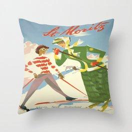 Vintage poster - St. Moritz Throw Pillow
