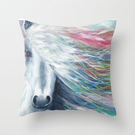 Rainbow Horse Throw Pillow