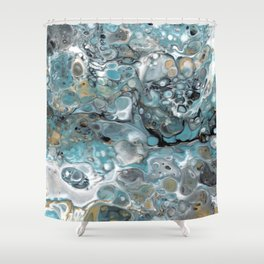 Turquoise White Gold Faux Marble Granite Shower Curtain