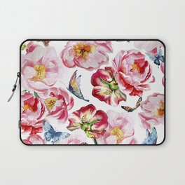 Pink flowers peony and butterfly background watercolor wedding illustration Laptop Sleeve