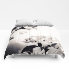 Black and White Flowers 2 Comforters