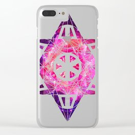 Metatron's Cube Time Wheel ~ Space Lily Clear iPhone Case