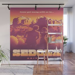 Sedona Grand Canyon Vintage Travel Poster Sunset Hues Silhouette Couple Lovers Wall Mural