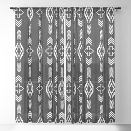 Black and white trial shapes pattern Sheer Curtain