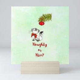 Kitty Cat Eyeing a Christmas Ornament Mini Art Print