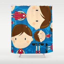 Cartoon Soccer Player Pattern Shower Curtain
