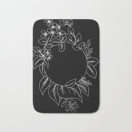 Black Floral Circle Bath Mat