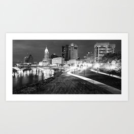 Columbus Skyline Panorama Along the Scioto Mile in Black and White Art Print