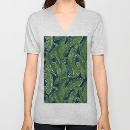 Leaves Bananique in Atlantic Navy Unisex V-Neck