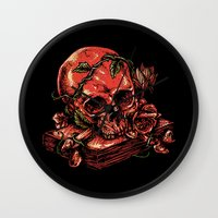 art history Wall Clocks featuring Dark history by barmalisiRTB