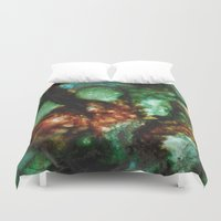 geode Duvet Covers featuring Geode I, Malachite by Titania Designs