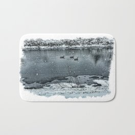 Geese in Rock River Bath Mat