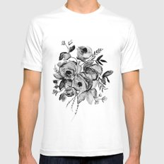 GREYSCALE ROSES MEDIUM White Mens Fitted Tee