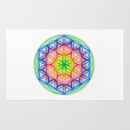 Flower of Life & the Seven Colours - The Rainbow Tribe Collection Rug