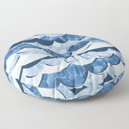 Abstract Blue Sea Waves Design Floor Pillow