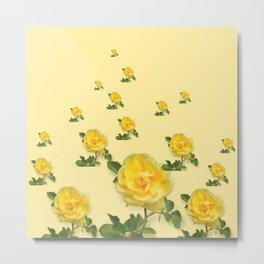RAINING YELLOW ROSES COLLAGE ART Metal Print