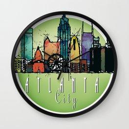 Cool Atlanta City Skyline, GA Retro Design Wall Clock