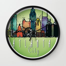 Cool Atlanta City Skyline, GA Retro Design Wall Clock