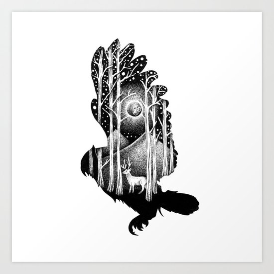 THE OWL AND THE DEER Art Print