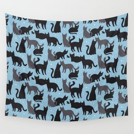 Black Cats Pattern Wall Tapestry