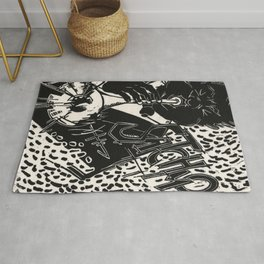 Thank You, Pops, Louis Armstrong Jazz Trumpet Black and White Block Print Rug