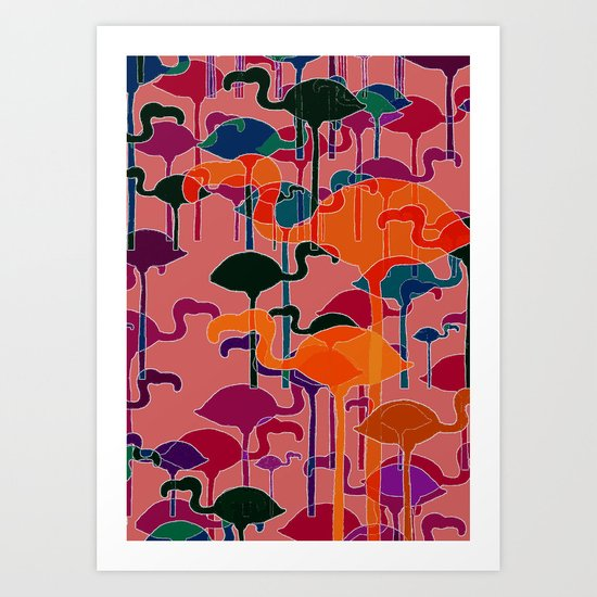 multicoloured flamingos Art Print