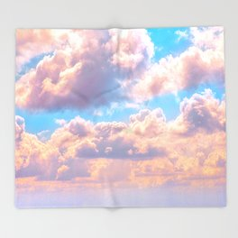 Beautiful Pink Cotton Candy Clouds Against Baby Blue Sky Fairytale Magical Sky Throw Blanket