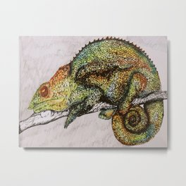 Watercolor drawing of a Chameleon, colorful Chameleon illustration, wild animals posters print Metal Print