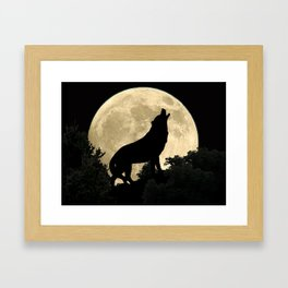 Wolf Howling at the Full Moon A303 Framed Art Print