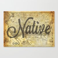 vintage map Canvas Prints featuring Vintage map by Cultivate Bohemia