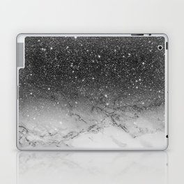 Stylish faux black glitter ombre white marble pattern Laptop & iPad Skin