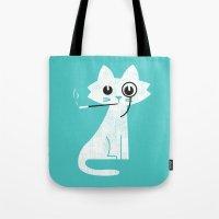budi Tote Bags featuring Mark - Aristo-Cat by Picomodi