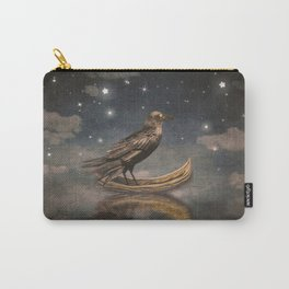 Crow in a boat at the river magical night Carry-All Pouch