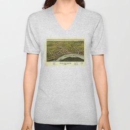 Aerial View of Richmond, Maine (1878) Unisex V-Neck