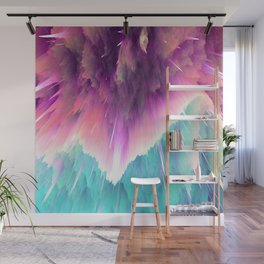 Space Explosions in Pinks, Purples, and Aqua Blues Wall Mural