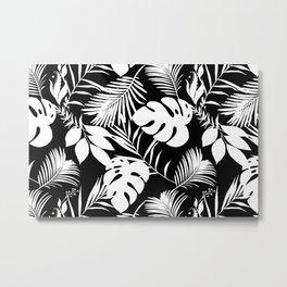 Tropical Monstera And Palm Leaves Black N White Metal Print