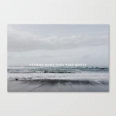 Storms make oaks take roots Canvas Print