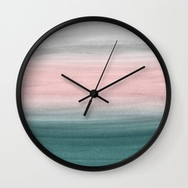 Touching Teal Blush Gray Watercolor Abstract #1 #painting #decor #art #society6 Wall Clock
