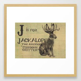 Alphabestiary J - Jackalope Framed Art Print