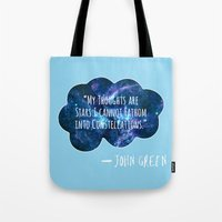the fault Tote Bags featuring The Fault In Our Stars by CATHERINE DONOHUE