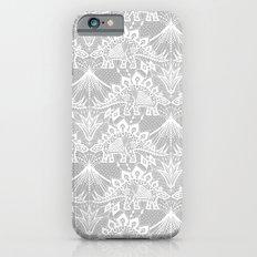 Stegosaurus Lace - White / Silver iPhone 6 Slim Case