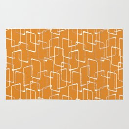 Retro Orange Lino Print Geometric Pattern Rug